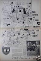 PUBLICITÉ 1958 BP VOICI LA ROUTE VERT ET JAUNE D'ALDEBERT  - ADVERTISING