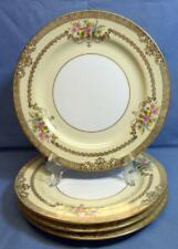 NORITAKE M CHINA 3983 GOLDFLEUR 4 DINNER PLATES US DESIGN PATENTED HAND PAINTED