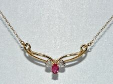 9ct Yellow Gold Ruby & Diamond Ladies Necklace - Stunning Quality
