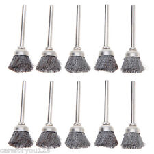 10Pcs 15mm Rotary Polish Tools Steel Wire Wheel Brushes Cup Rust Rotary Tool