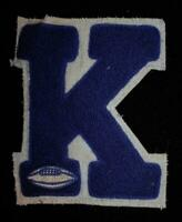 "VINTAGE 1960'S-1970'S SCHOOL FOOTBALL BLUE AND WHITE PATCH 5"" X 6"""