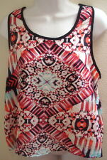 top blouse large l womens sheer black white print sleeveless new nwt casual