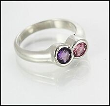 9ct Solid White Gold Dress Ring with Amethyst and Pink Tormaline Gems