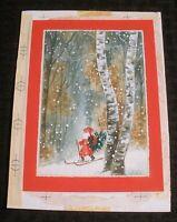 "MERRY CHRISTMAS Santa Claus Skiing w/ Tree Woods 5x7"" Greeting Card Art #200-14"