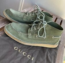 Gucci Men's Boot US 11 Boat Chukka Green Suede Crepe Sole Italy Stitchdown Olive