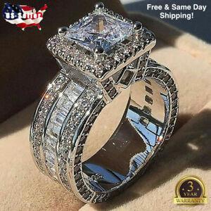 Gorgeous Women 925 Silver Wedding Rings Princess Cut White Sapphire Sz 5-11