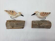 Set of 2, Handmade Folk Art Sandpiper Sculptures By Lazarus Paskalidis