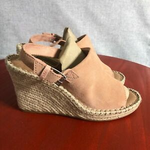 TOMS The Monica Bloom Womens Size 8.5M Shoes Pink Peep Toe Espadrille Wedge Heel