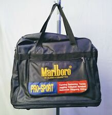 Marlboro Vintage Expandable RARE Black Duffle Bag with Swivel Wheels 1980s.