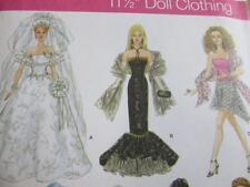 SIMPLICITY BARBIE SEWING PATTERN BRIDE MERMAID DRESS HALTER TOPS FASHION DOLLS