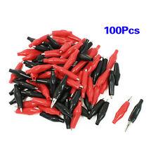 100 Pcs Croc Clip for Test Leads Black / Red Crocodile Clips S UK 2.8cm LW SZUS