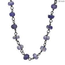 Iolite Gemstone Beaded .925 Silver Chain Necklace Fine Handmade Jewelry 36Inch