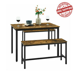 Industrial Dining Table Set 3 Rustic Metal Vintage Kitchen Bench Furniture