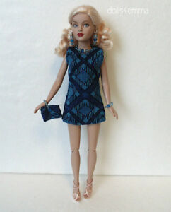 TINY KITTY CLOTHES Mod Blue DRESS + PUSE + JEWELRY handmade Fashion NO DOLL d4e