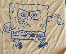 SpongeBob SquarePants Large T Shirt 2002 Nickelodeon Nicktoons Yellow Blue