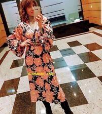 ZARA Floral Printed Puffy Sleeves New Velvet Midi Dress Size S+