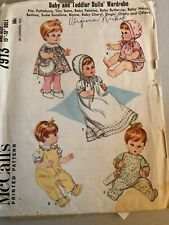 McCalls 7193 Baby Toddler Doll Wardrobe Tiny Tears Betsy Wetsy 15�-18� Doll 1965