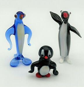 Set Of 3 Penguin Murano Style Miniature Art Glass Lampwork Figurine Black & Blue