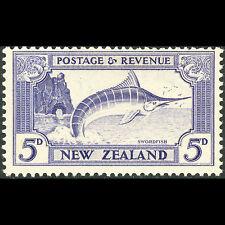 NEW ZEALAND 1935-36 5d Fish. SG 563 Perf 13-14 x 13.5. Fresh MLH (AT239)