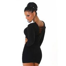 Kleid Minikleid Longpullover Pulli Pullover mit Schnürung Schwarz 34 36 38