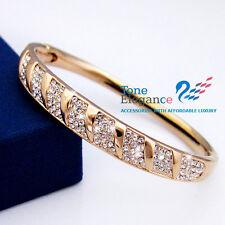 9ct 9k rose gold GF solid women Bracelet bangle made with swarovski