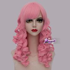 45CM Aqua Pink Medium Curly Hair Fashion Daily Party Anime Cosplay Wig + Cap