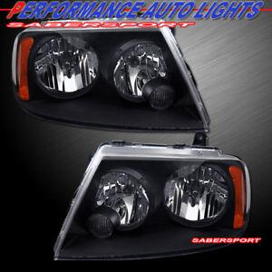 Pair OE Style Black Headlights (Halogen Ver.) for 2003-2006 Lincoln Navigator