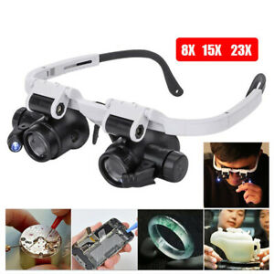 8/15/23x Magnifier Magnifying Glasses 2 LED Light Jeweler Watch Repair Headband
