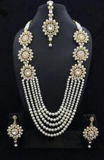Indisch Hochzeit Braut Gold Modeschmuck Halskette Ohrring Perlen Schmuck Set