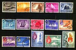 SINGAPORE 1955-59 SG 38/52FINE USED SET Cat £18