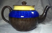 Ceramic Teapot Made In England Brown Blue Yellow Fire Proof