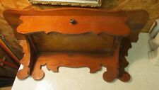 Antique Wood Clock Shelf with Drawer
