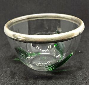 Pretty Silver Rimmed Glass Trinket Bowl / Dish - Sydney & Co B'ham 1904