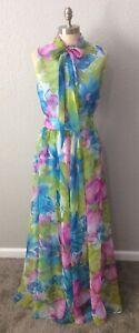 Vintage 70s Watercolor Floral Sleeveless Pussy Bow Maxi Chiffon Dress Sz Medium?