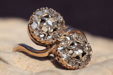 ANTIQUE ENGLISH 18K GOLD 'YOU & ME' FLOWER PAIR ROSE CUT DIAMOND CLUSTER RING