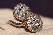 ANTIQUE EDWARDIAN 15K GOLD 'YOU & ME' FLOWER PAIR ROSE CUT DIAMOND CLUSTER RING