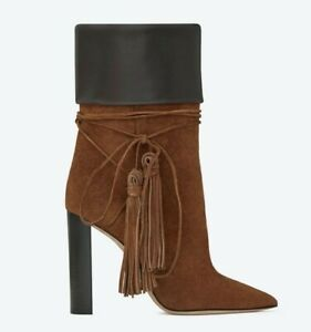 NEW! Saint Laurent Brown Suede Tan Mixed Leather Tanger Tassel 36 Boots/Booties