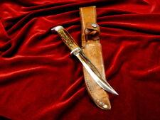 Rare 1940-65 Case Vintage Usa Stag Bone Bird Trout Hunting Knife /Case Xx Sheath