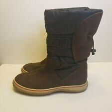 Easy Spirit Womens Size 9 Brown Black Quilted Suede Winter Rubber Bottoms Boots