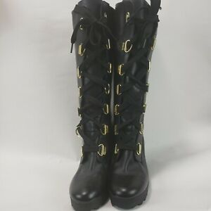 Timberland Women's 9 M Black Leather Lace Up Tall Wedge Boots