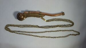 """Vintage Brass/Copper Boatswain's 5"""" Whistle W/Chain Navy Nautical Bosun Guide"""