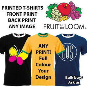Printed Ringer T-Shirt Any Text,Image,Logo,Branded,Promo Print Back & Front