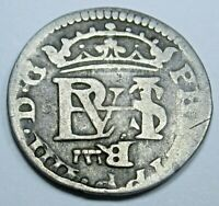 1600s Spanish Silver 1/2 Reales Piece of 8 Real Antique Colonial Era Pirate Coin