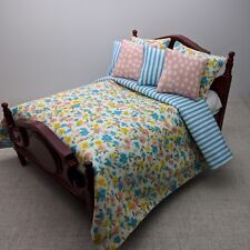 Dollhouse Miniature Blue Bedding 1/12th Scale Floral Bedspread Christmas Gift
