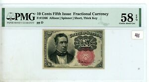 FR.1266 10 CENT FIFTH ISSUE FRACTIONAL PMG CERTIFIED  Chc AU 58 # 41