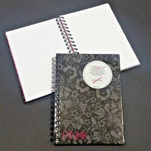 1x NEW A6 HARDBACK SPIRAL BOUND TWINWIRE RULED NOTE BOOK 120 PAGE PINK & BLACK
