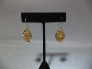 Gorgeous 14K Yellow Gold Teardrop Drusy Quartz/Mother of Pearl Earrings 5.1grams