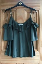 Ladies New Khaki Green Cold Shoulder Frill Eyelet Strappy Vest Top Size 8 - 18