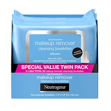 Neutrogena Makeup Remover Wipes Cleansing Towelettes Twin Pack - 50 Wipes