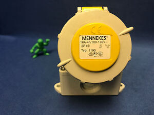 MENNEKES Type 1193 Yellow Wall Mount 3P Right Angle Industrial Power Socket
